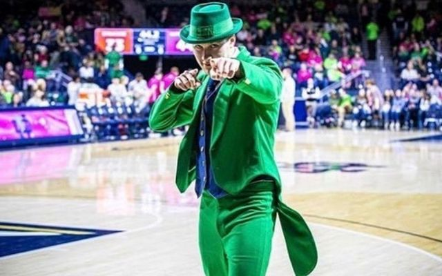 Conal Fagan as Notre Dame\'s Fighting Irish leprechaun.