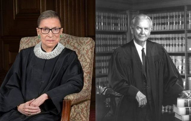 Left, Supreme Court Justice Ruth Bader Ginsburg in 2016. Right, Supreme Court Justice William Brennan in 1972.