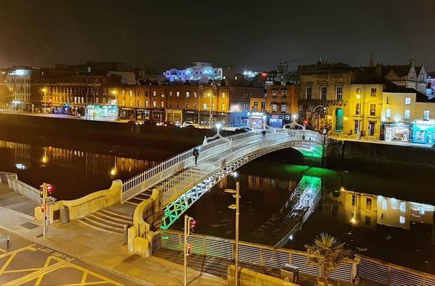 The Ha\' Penny Bridge, in Dublin city center, last Thursday, before lockdown.