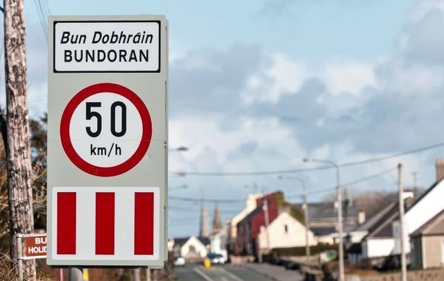 A road sign in Bundoran, Co Donegal. The county will be placed on Level 3 from midnight on Sept. 25.