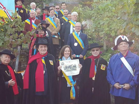 """Eileen Grison on the day she was awarded the title title """"Deputy of the Republique de Montmartre"""" in the vineyard of Montmartre."""