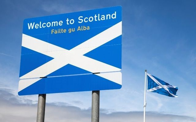 "A ""Welcome to Scotland\"" sign featuring a Gaelic translation."