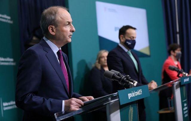 January 6, 2021: Taoiseach Micheál Martin, Tanaiste Leo Varadkar, and Minister for Education Norma Foley addressing the press after today\'s Cabinet meeting.