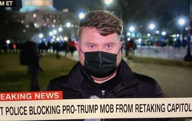 CNN\'s Donie O\'Sullivan during Wednesday night\'s Capitol riots.