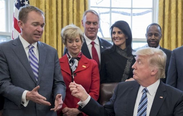 March 17, 2017: Mick Mulvaney, then the Director of the Office of Management and Budget (OMB), and President Donald Trump in the Oval Office.