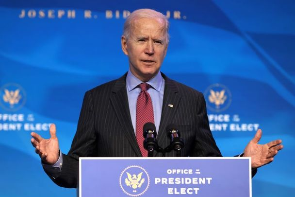 January 8, 2021: US President-elect Joe Biden delivers remarks before announcing members of his cabinet at The Queen Theater in Wilmington, Delaware.