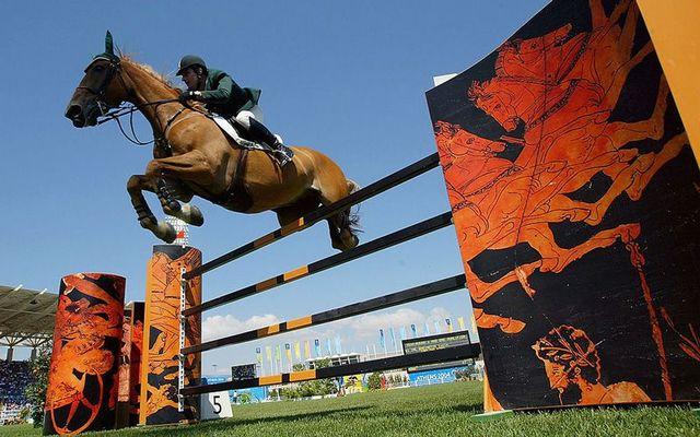 Kevin Babington riding Carling King during the Athens 2004 Summer Olympic Games.