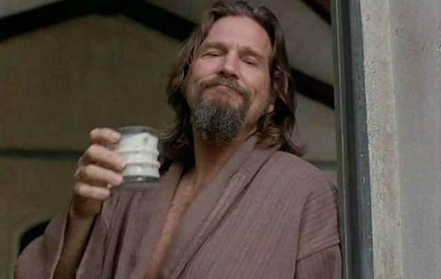 The Dude abides! Jeff Bridges in the Big Lebowski drinking a White Russian.