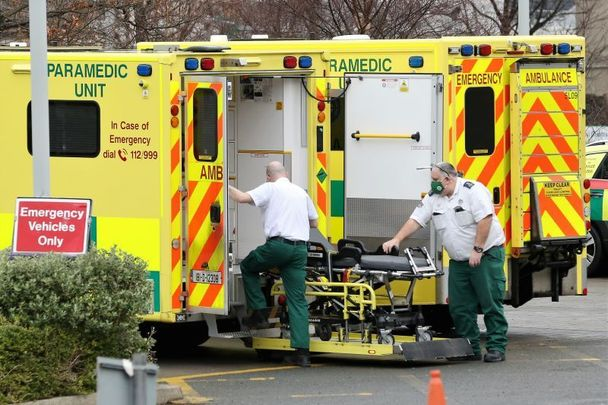 January 11, 2021: Staff at an ambulance outside the Emergency Department of St Vincents Hospital in Dublin.
