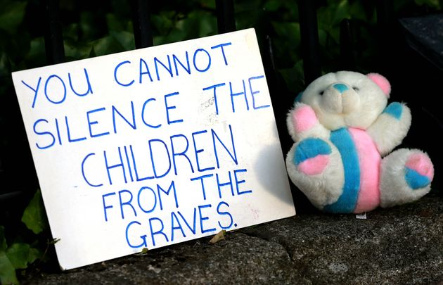 June 2014: A stark sign of protest from a gathering outside Ireland\'s government buildings demanding justice for the Mother and Baby Home survivors and those who died.