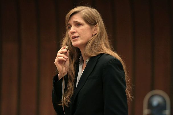 Samantha Power speaking in Geneva.