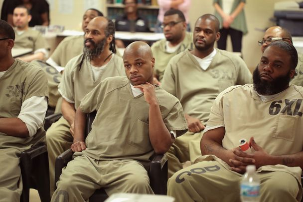 A group of prisoners at Cook County Prison, in Chicago, IL, partaking in a chess tournament online.