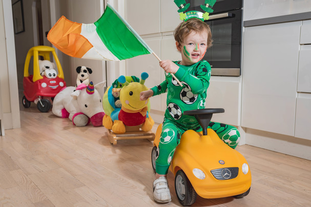 Little Adam Weldon, from Dublin, getting ready for the St. Patrick\'s Festival virtual parade on March 17, 2021.