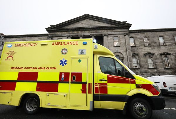 An ambulance at the Mater Hospital in Dublin on Tuesday morning.