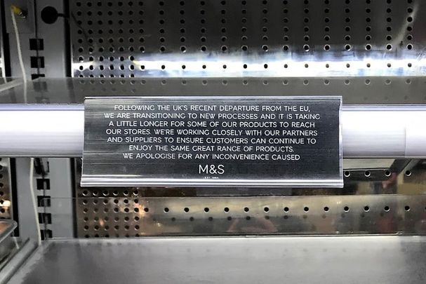January 19, 2021: Empty shelves in Marks & Spencer in Dublin city, along with a sign from the supermarket chain which explains that supply chains from the UK will be disrupted for the near future due to Brexit.
