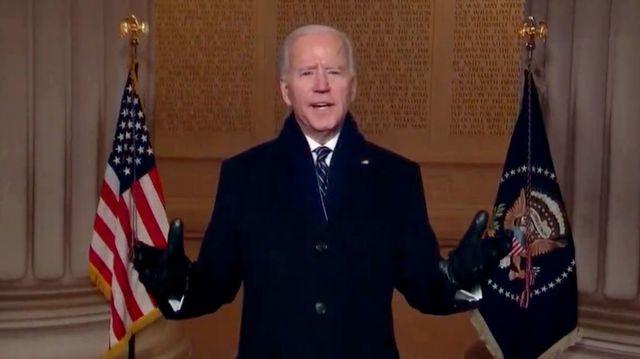 "President Joe Biden, addressing the world on his inauguration day as part of the \""Celebrating America\"" program."