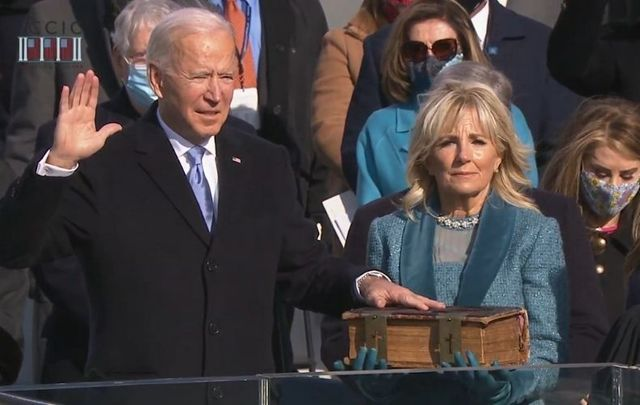 January 20, 201: Joe Biden takes the Oath of Office at the US Capitol in Washington, DC.