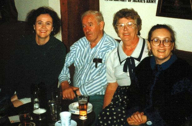 Arranmore, Co. Donegal -- Early\'s Bar after the war: (L-R) Sharon, Tom, Molly and Maura