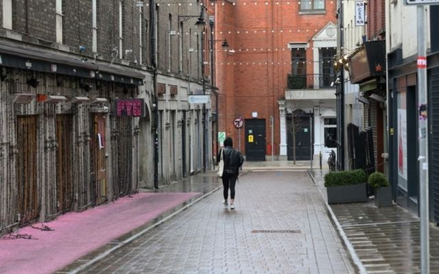An almost empty street in Dublin City during the coronavirus lockdown.