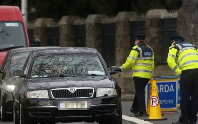 A garda checkpoint in Dublin during Ireland\'s Level 5 restrictions.