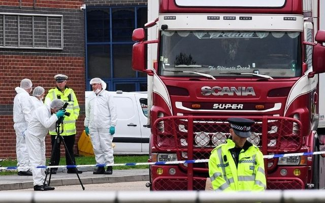 Essex Police investigate the discovery of 39 bodies in the back of a lorry in 2019.