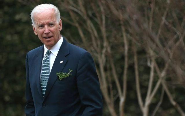 Joe Biden wears shamrocks for St. Patrick\'s Day in 2014.