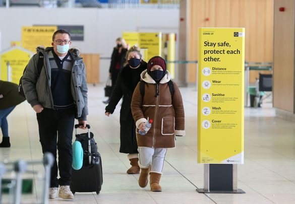 Passengers arriving through Dublin airport.