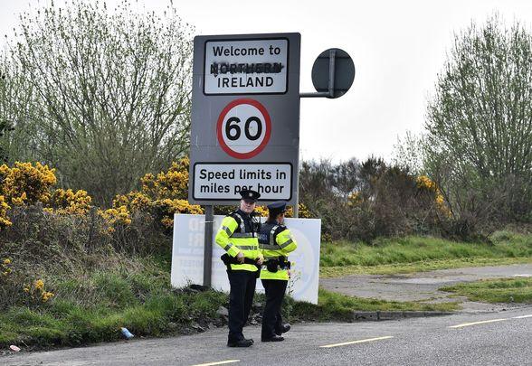 Gardaí at the Northern Irish border.