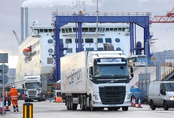 Dublin Port: Trucks rolling off ships in Ireland post Brexit.
