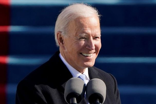 January 20, 2021: Joe Biden at his inauguration in Washington, DC.
