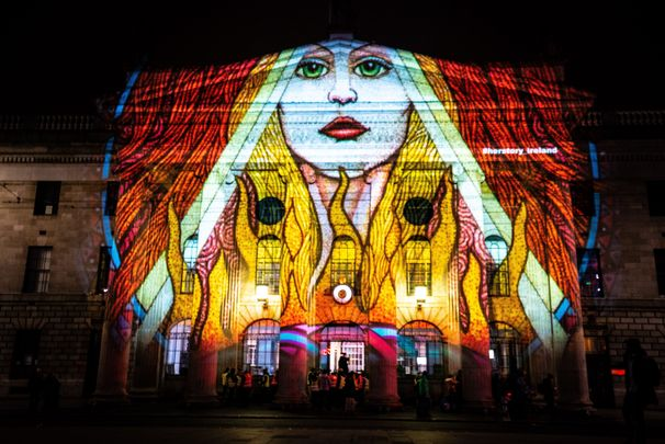 HerStory lighting up Dublin in a celebration of St. Brigid\'s Day