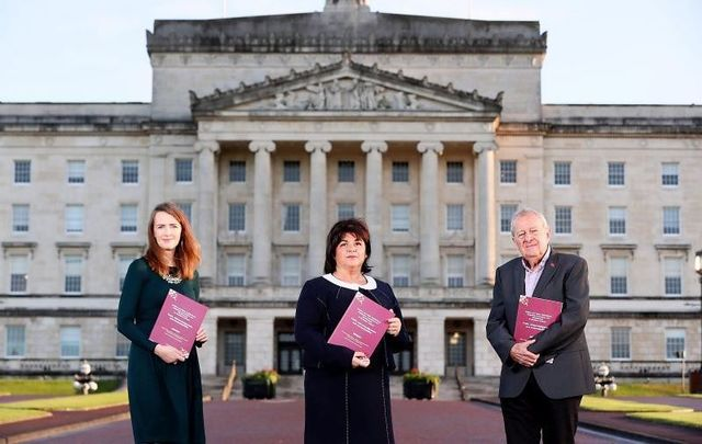 October 5, 2021: Panel members Dr. Maeve O'Rourke, Deirdre Mahon (Chair), and Professor Phil Scraton at Stormont for the official launch of Truth Recovery Design Panel Report entitled 'Mother and Baby Institutions, Magdalene Laundries and Workhouses in Northern Ireland – Truth, Acknowledgement and Accountability'
