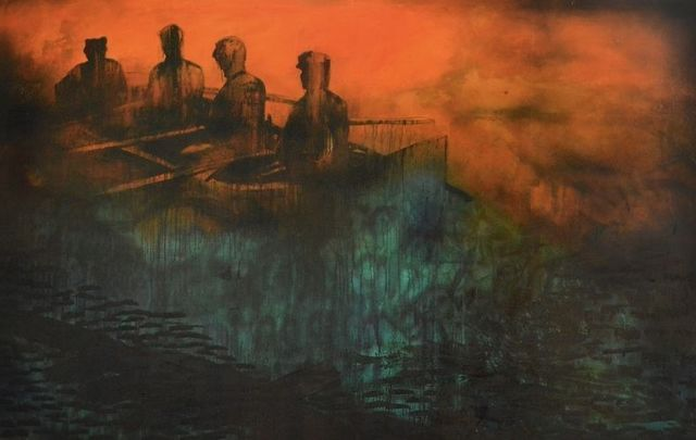 Fighting With Shadows, by the artist Tracy Sweeney, is on display at the Great Hunger Museum at Quinnipiac.