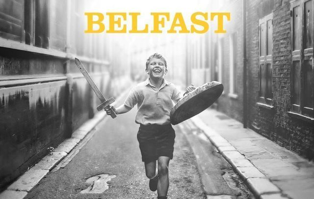 """The official movie poster for Kenneth Branagh\'s film \""""Belfast.\"""""""