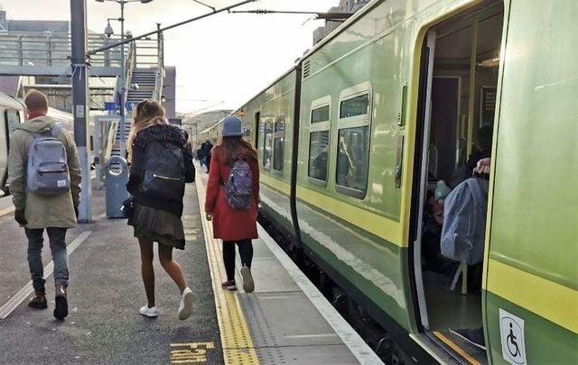 January 2019: Commuters disembarking the DART [Dublin Area Rapid Transit] train.