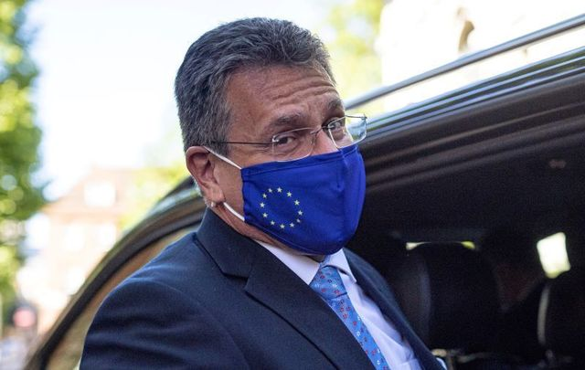 June 9, 2021: Vice President of the European Commission for Interinstitutional Relations Maroš Šefčovič departs from Europe House after giving a press conference in London, England. The United Kingdom is at odds with the European Union over enforcement of provisions in the Northern Ireland protocol that governs post-Brexit trade.