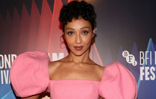 """October 10, 2021: Ruth Negga attends the \""""Passing\"""" European Premiere during the 65th BFI London Film Festival at The Curzon Mayfair in London, England."""