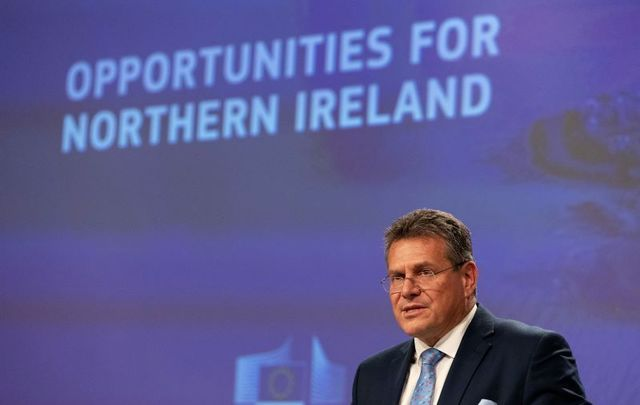 October 13, 2021: Maroš Šefčovič, Vice-President of the European Commission, gives a press conference on the Commission's package of proposals related to the Protocol on Ireland / Northern Ireland.