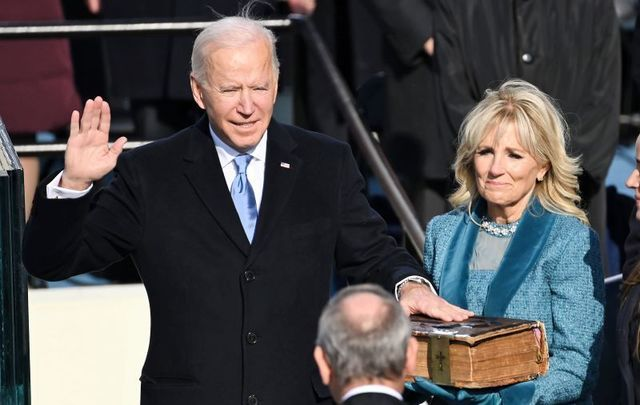 January 20, 2021: Joe Biden is sworn in as his wife Jill Biden holds the Bible during the 59th Presidential Inauguration at the U.S. Capitol in Washington, DC