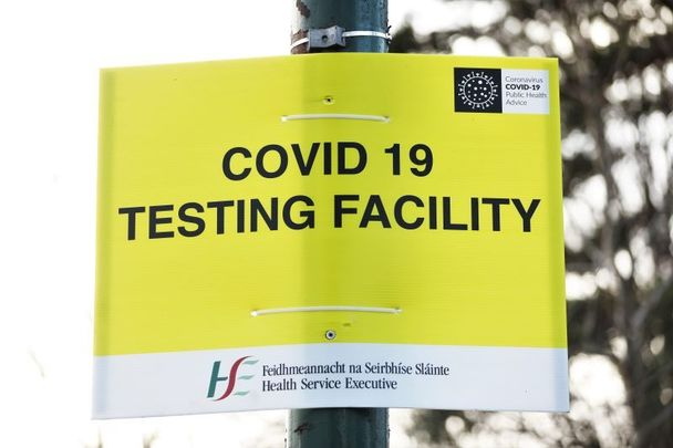 December 31, 2020: A sign outside of a testing center at the RDS Dublin.