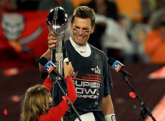 Tom Brady with the Vince Lombardi Trophy on Sunday night.