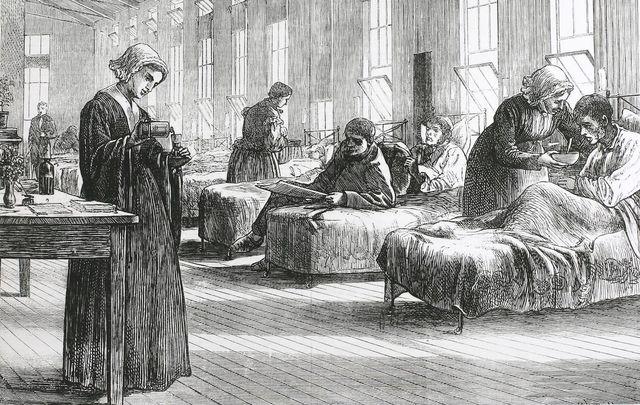 A ward in the Hampstead Smallpox Hospital, Hampstead, London, circa 1820.