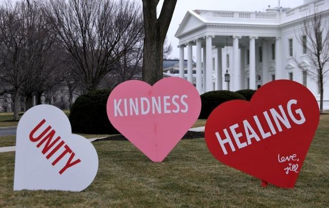 February 12, 2021: Heart-shape signs with Valentine messages, set up by the office of First Lady Jill Biden, on display on the North Lawn of the White House.