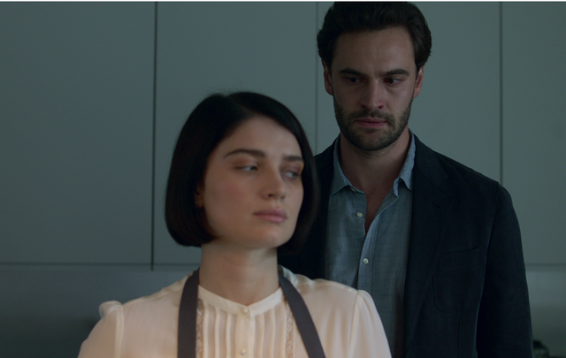 """A shot from \""""Behind Her Eyes\"""" starring Eve Hewson and Tom Bateman."""
