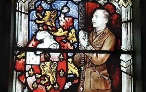 The stained glass window in St. Michael\'s Church, Tipperary Town in memory of Major John Carlon Markes