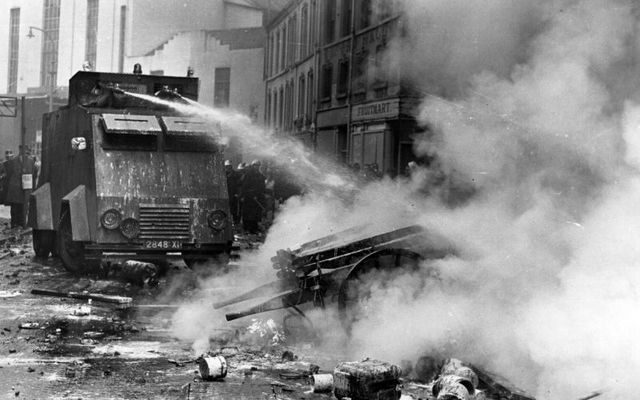 An RUC water cannon in action during the Bogside riots of the 1960s.