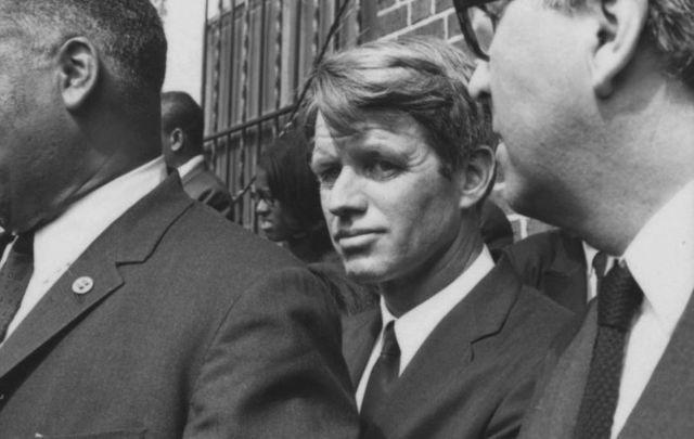 April 9, 1968: Senator from New York, Robert F. Kennedy photographed at Martin Luther King Jr\'s funeral.