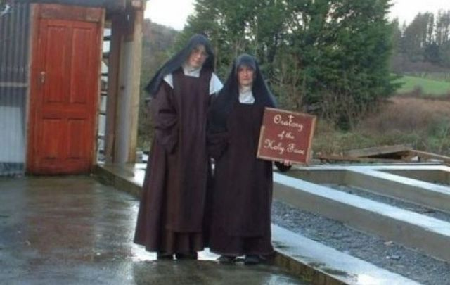 Mother Irene Gibson and Sr. Anne Marie outside their West Cork compound.