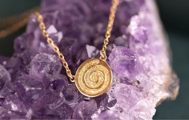 The Celtic Spiral Gold Plated Necklace from Liwu Celtic Collections