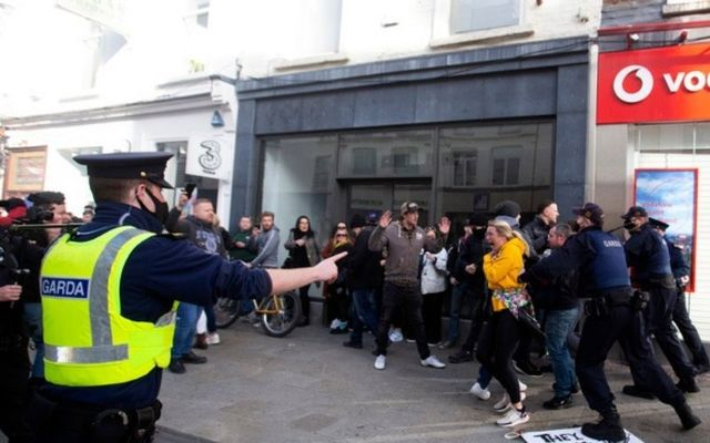 Gardaí charged at protesters during Saturday\'s anti-lockdown protests.
